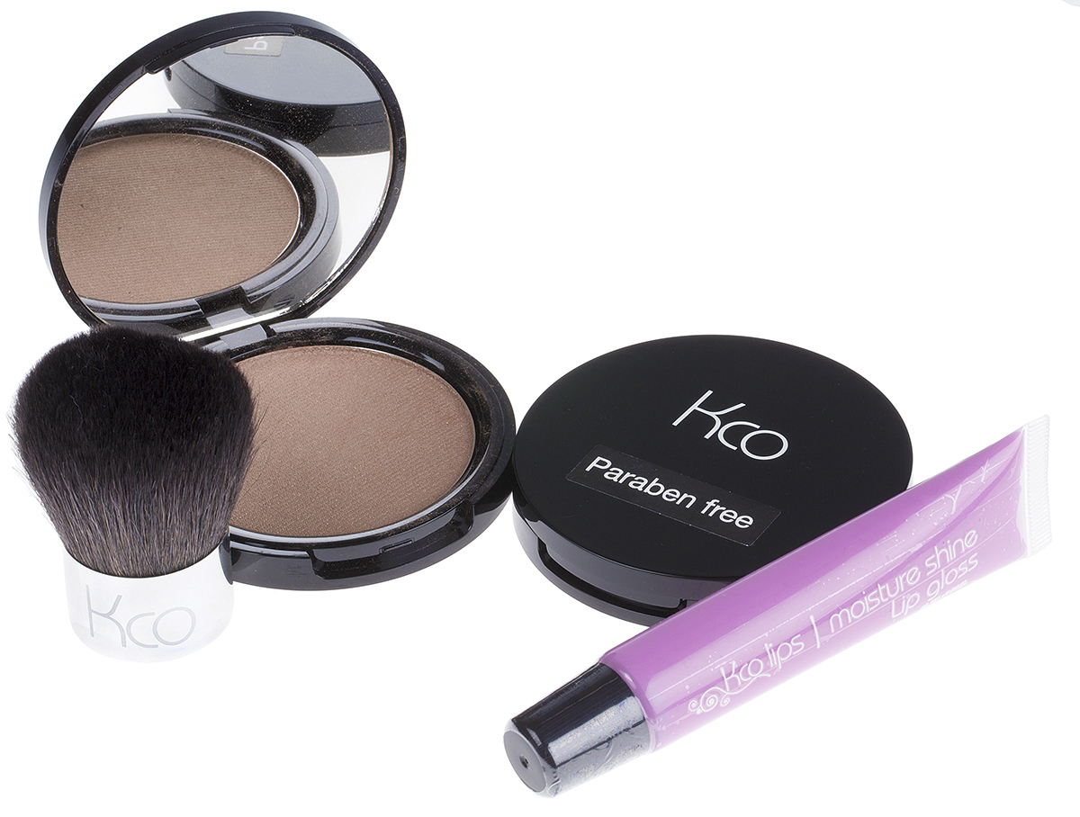 Two Kco Compacts, Lipgloss & Brush